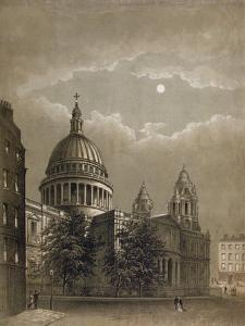 North-East View of St Paul's Cathedral by Moonlight, City of London, 1850
