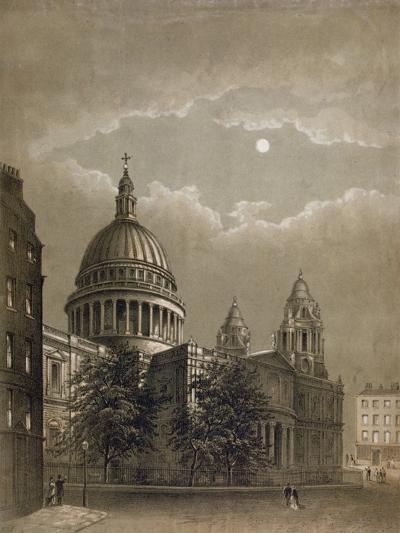 North-East View of St Paul's Cathedral by Moonlight, City of London, 1850--Giclee Print