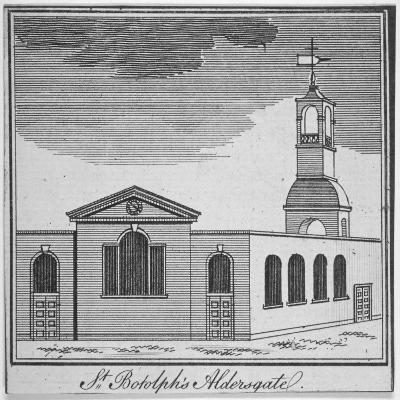 North-East View of the Church of St Botolph Aldersgate, City of London, 1750--Giclee Print