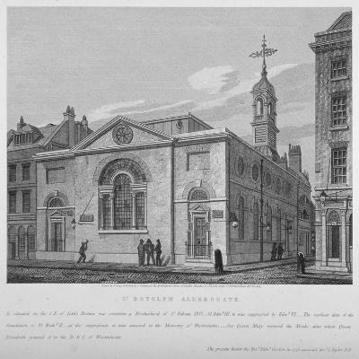North-East View of the Church of St Botolph Aldersgate, City of London, 1814-Joseph Skelton-Giclee Print