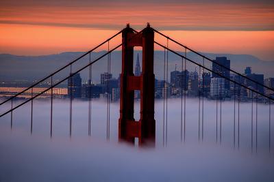 North Golden Gate Tower and Transamerica Pyramid at Dawn, San Francisco-Vincent James-Photographic Print