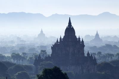 North Guni Temple, Pagodas and Stupas in Early Morning Mist at Sunrise, Bagan (Pagan)-Stephen Studd-Photographic Print