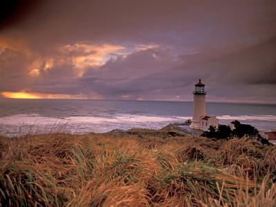 North Head Lighthouse at Sunset, Fort Canby State Park, Washington, USA-Brent Bergherm-Photographic Print