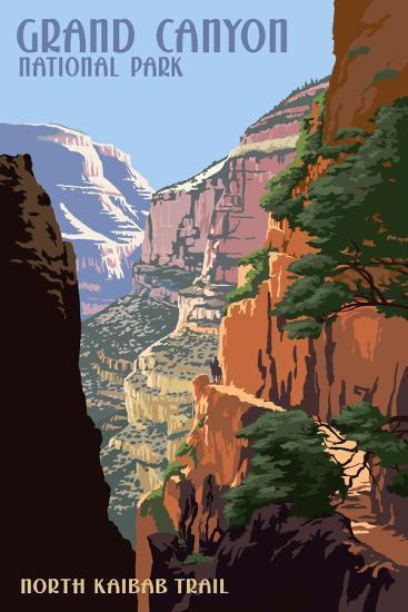 North Kaibab Trail - Grand Canyon National Park-Lantern Press-Art Print