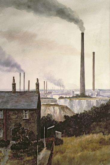 North Kent Landscape - Nr. Northfleet, Gravesend-Vic Trevett-Giclee Print