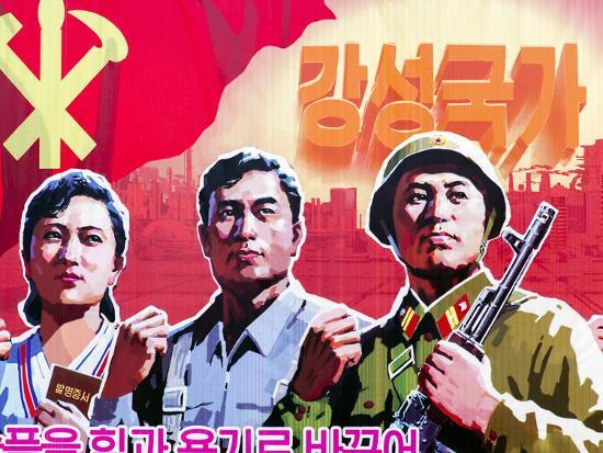 North Korea, Pyongyang, Propaganda Poster-Gavin Hellier-Photographic Print