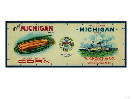North Michigan Corn Label - Grand Rapids, MI-Lantern Press-Art Print