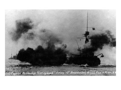 North Moser, New York - View of British Battleship Collingwood Shooting-Lantern Press-Art Print