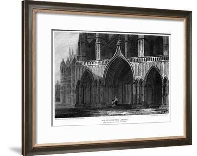 North Porch with Part of the Henry VII Chapel, Westminster Abbey, London, 1815-H Hobson-Framed Giclee Print