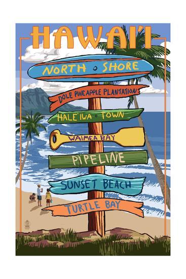 North Shore, Oahu, Hawaii - Sign Destinations-Lantern Press-Art Print