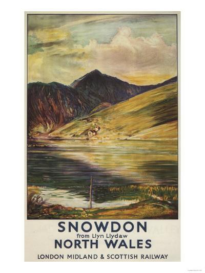 North Wales, England - Snowdon Mountain View Railway Poster-Lantern Press-Art Print