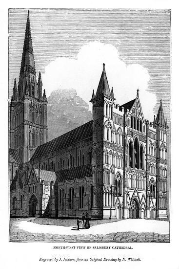 North West View of Salisbury Cathedral, 1843-J Jackson-Giclee Print