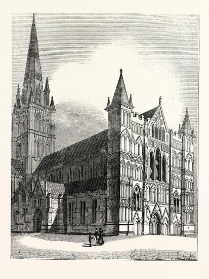 North-West View of Salisbury Cathedral--Giclee Print