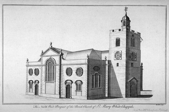 North-West View of the Church of St Mary, Whitechapel, London, C1800-Benjamin Cole-Giclee Print