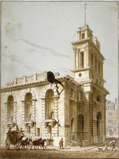 North-West View of the Church of St Mary Woolnoth, City of London, 1812-George Shepherd-Giclee Print