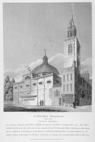 North-West View of the Church of St Stephen Walbrook, City of London, 1813-Joseph Skelton-Giclee Print