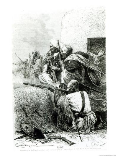 North-Western Afghan Mountain Troops Fighting Against the British, Engraved by H. Koch-Emile Antoine Bayard-Giclee Print