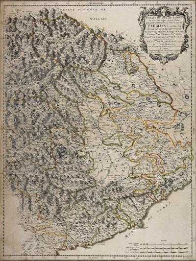 Northern Alpine Regions, Padan Plain and Western Liguria Region, Map--Giclee Print