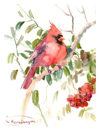 Northern Cardinal And Berries-Suren Nersisyan-Art Print