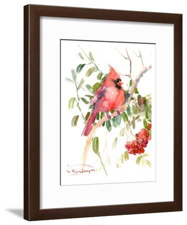 Northern Cardinal And Berries-Suren Nersisyan-Framed Art Print