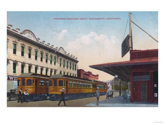 Northern Electric Rail Depot - Sacramento, CA-Lantern Press-Art Print