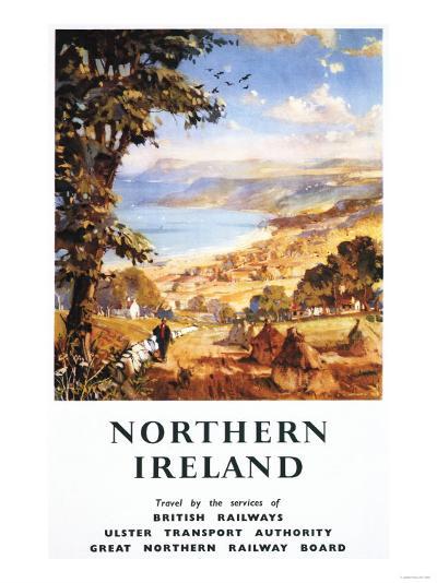Northern Ireland - Pastoral Scene Man and Dog British Railways Poster-Lantern Press-Art Print