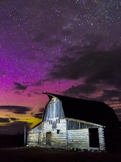 Northern Lights Above Moulton Barn-Mike Cavaroc-Photographic Print