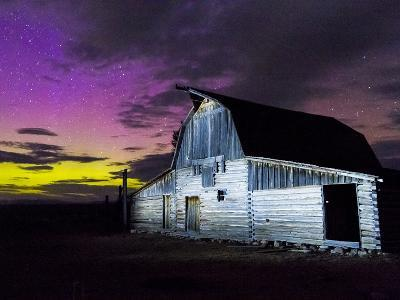 Northern Lights Above Moulton Barn-Mike Cavaroc-Photographic Print