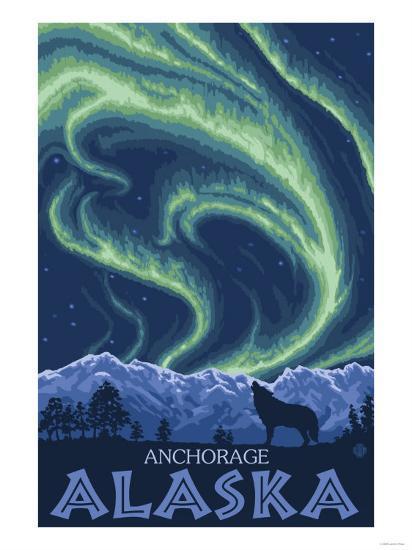 Northern Lights, Anchorage, Alaska-Lantern Press-Art Print