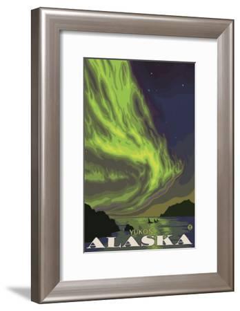 Northern Lights and Orcas, Yukon, Alaska-Lantern Press-Framed Art Print