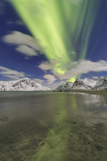 Northern Lights (Aurora Borealis) on Skagsanden Sky, Lofoten Islands, Arctic, Norway, Scandinavia-Roberto Moiola-Photographic Print
