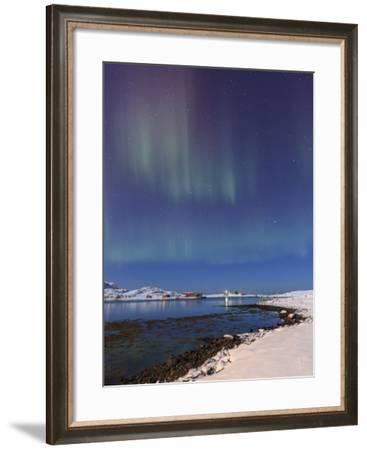 Northern lights (Aurora Borealis) on snowy peaks reflected, Volanstinden, Fredvang, North Norway-Roberto Moiola-Framed Photographic Print