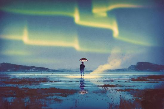 Northern Lights Aurora Borealis over Man Holding Glowing Umbrella,Illustration Painting-Tithi Luadthong-Art Print
