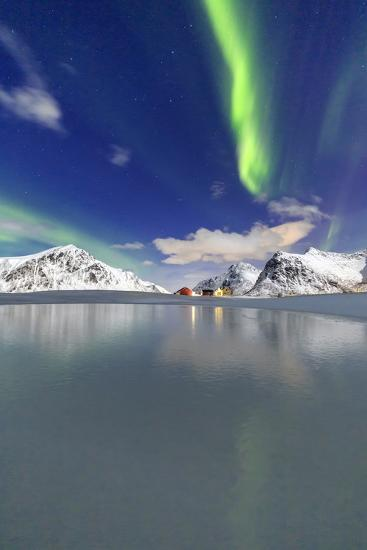 Northern Lights (Aurora Borealis) Reflected in the Cold Waters Photographic  Print by Roberto Moiola | Art com