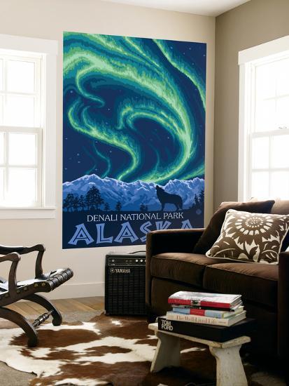 Northern Lights, Denali National Park, Alaska-Lantern Press-Wall Mural