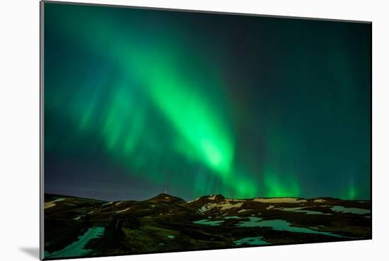 Northern Lights or Aurora Borealis over Mt. Ulfarsfell, Close to Reykjavik, Iceland-Arctic-Images-Mounted Photographic Print