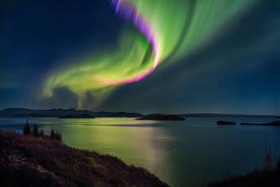 Northern Lights over Thingvallavatn or Lake Thingvellir. Thingvellir National Park. Iceland--Photographic Print