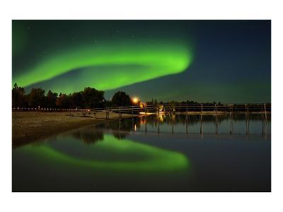 Northern Lights Reflected in Lake Winnipeg II-Mike Grandmaison-Art Print