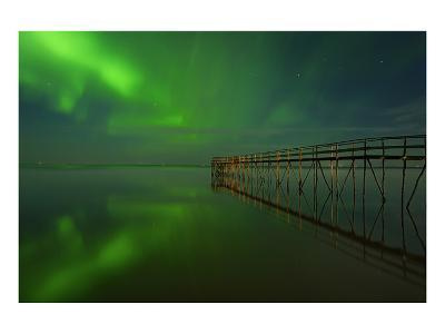 Northern Lights Reflected in Lake Winnipeg IV-Mike Grandmaison-Art Print