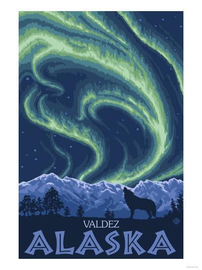 Northern Lights, Valdez, Alaska-Lantern Press-Art Print