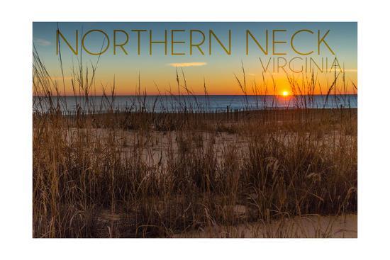 Northern Neck, Virginia - Beach and Sunrise-Lantern Press-Art Print
