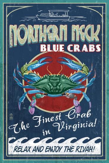 Northern Neck, Virginia - Blue Crab Vintage Sign-Lantern Press-Art Print