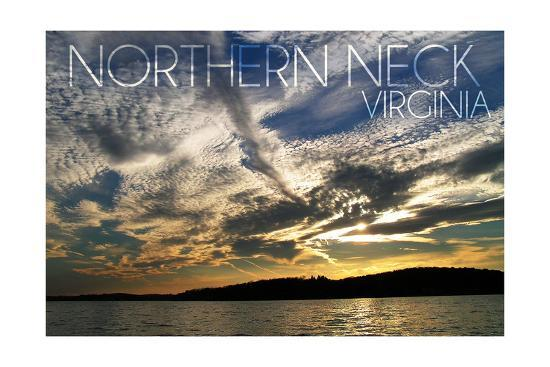 Northern Neck, Virginia - Sunset and River-Lantern Press-Art Print
