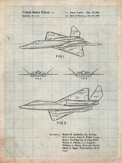 Northrop F-23 Fighter Stealth Plane Patent-Cole Borders-Art Print