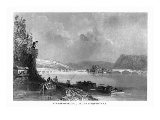 Northumberland, Pennsylvania, View of the Town from the Susquehanna River-Lantern Press-Art Print