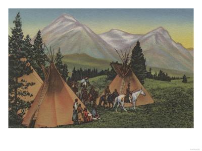 Northwest Indians Returning from Hunting - Northwest USA-Lantern Press-Art Print