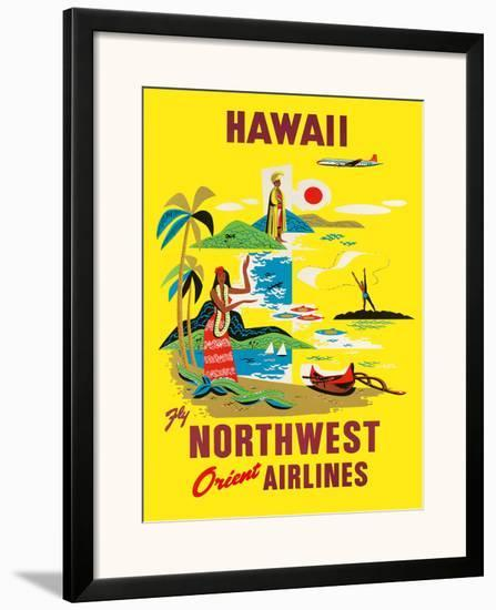 Northwest Orient Airlines, Hawaii c.1960s--Framed Giclee Print