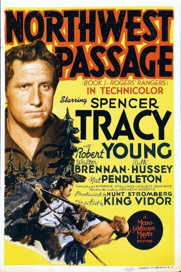 NORTHWEST PASSAGE, left: Spencer Tracy on midget window card, 1940--Art Print