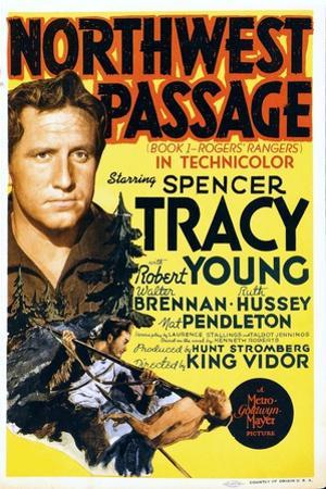 NORTHWEST PASSAGE, left: Spencer Tracy on midget window card, 1940