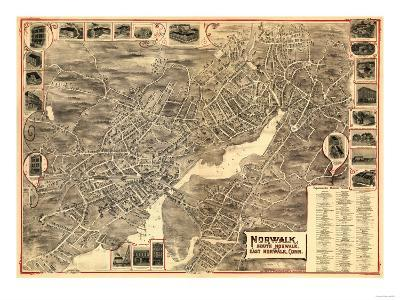 Norwalk, Connecticut - Panoramic Map-Lantern Press-Art Print